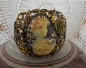 Vintage Assemblage Cameo Lady And Bird Cuff Bracelet Victorian Look Flowers Leaves Pearls Filigree Brass Antique Gold