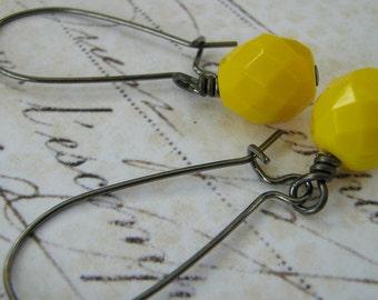 Lemon Earrings, Yellow Earrings, Lemon Yellow Glass Earrings,  Yellow Opaque Czech Glass Wire Wrapped Earrings, Summer Earrings