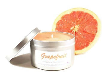 Grapefruit Soy Candle - 8 oz Scented Handmade Hand-Poured Natural Soy Wax Vegan Candle - Eco-Friendly Recyclable Tin