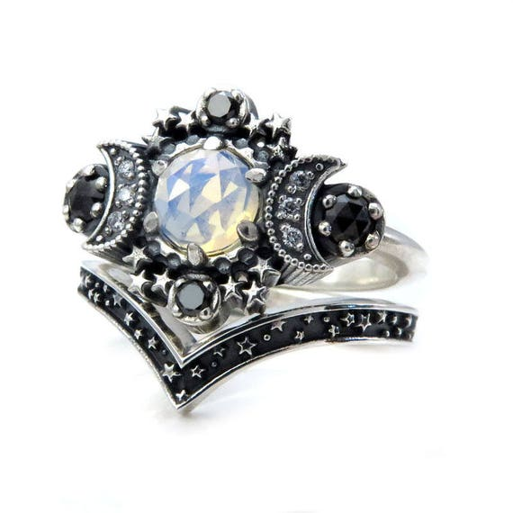 rings in moonstone fullxfull rainbow il moon zoom engagement crescent galaxy listing ring