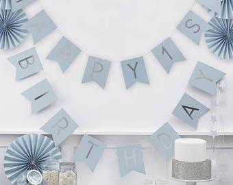 1'st birthday,Blue Happy First Birthday Blue & Silver Bunting