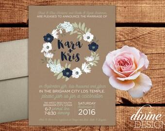 Customizable Simple Rustic Wedding Announcements - LDS Weddings - Printable or we Print! - Floral Wreath - Custom Colors - Cardstock