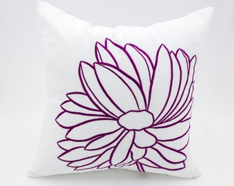 Flower Decorative Throw Pillow Cover, White Linen Deep Purple Flower Embroidery, Couch Pillow, Cushion Cover, Pillow Case, Accent Pillow