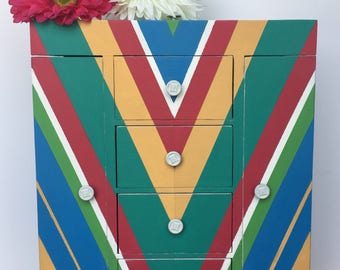 Vintage Jewelry Box, Hand Painted, Bright, Funky, Colorful, Stripes, Fuchsia, Green, Blue, Yellow, White, Gift for her, Storage, Unique