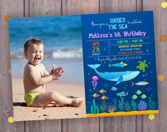 Under the Sea Birthday Invitation with/out photo, Oceanarium Invite, Ocean Party Invitation, Ocean Reef Under the Sea, Digital
