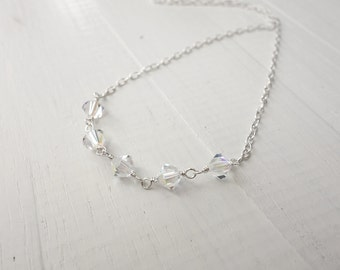 Minimalist silver necklace swarovski crystals necklace silver chain necklace sparkly necklace for women