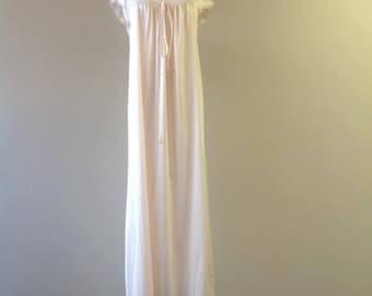 S / Nylon Nightgown / Long Night Gown / Vintage Sleepwear Lingerie Dress / Small