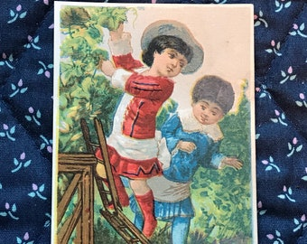 Victorian 1800s Trade Card, Little Victorian Girl And Boy Picking Grapes, The Great Atlantic And Pacific Tea Company