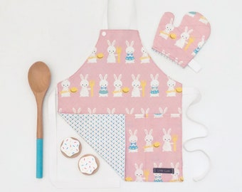 Pink & White Bunnies Apron for Toddler/Child