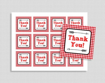 Barbecue Favor Tags, Red BBQ Thank You Shower Party Favor Tags, Red Gingham, Neutral Shower Tags, INSTANT PRINTABLE