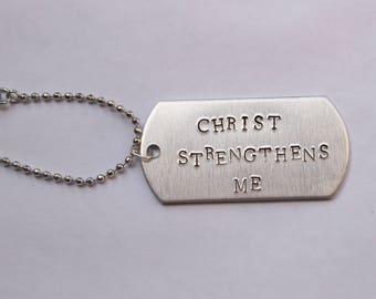 Men Boys Necklace Dog Tag Scripture