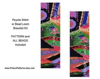 Bead Loom Bead Weaving Bracelet KIT or Peyote Stitch Bracelet Kit P13 - Pattern & All Delica Beads Included - Freeform Geometic Beading Kit