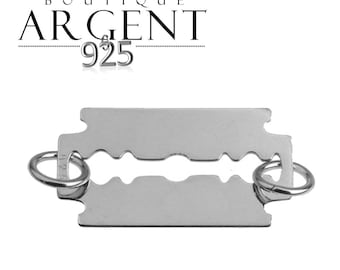 Razor spacer connector 16.4 X 10.6 mm 925 sterling silver charm with two holes