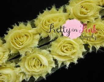 PALE YELLOW Shabby Rose Trim - Shabby Chiffon Rosettes - 1/2 Yard or 1 Yard - Shabby Flower Trim - Wholesale Shabby Flower - Chiffon Flower