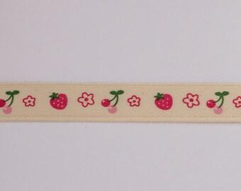 Cherries, strawberries and flowers ribbon