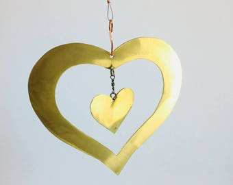 Hanging Brass Heart mobile with mini brass heart on swivel