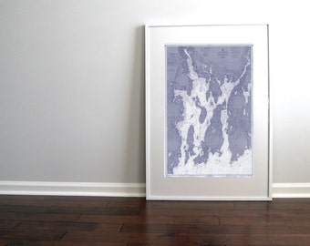 Narragansett Bay Newport Rhode Island Nautical Chart Map 1966 Blue DIGITAL PRINT Download 20 x 30, Map Art Prints, Printable Art, Chart Maps