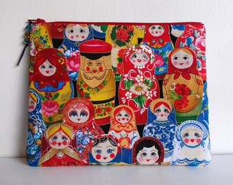 Russian doll fabric cosmetic pouch storage bag