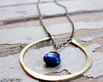 By Chance - Brass Horseshoe Necklace - Blue Lapis Lazuli Necklace - Bridal Jewelry - Blue Necklace