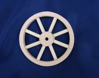 """Handcrafted unfinsihed 4"""" pine wood wheel with eight spokes  Part No 1401-B"""