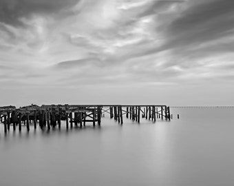 Breach Point, Docks New Orleans fine art Black and White photograph.