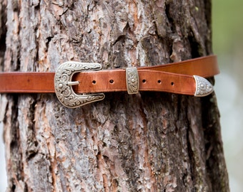 "Leather Belt, Simple Western Style (1"")"