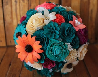 Wooden Flower Bouquet -Teal  Autumn - for Wedding and Home Decor Centerpiece