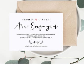 Engagement Invitation Template, Printable Wedding Engagement Party Invite, Engaged Announcement, Instant Download, 100% Editable #031-201EP