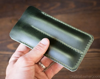 Double Pen Sleeve, Horween Chromexcel leather - forest