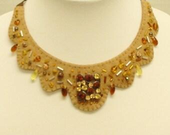 Felt Beaded Statement Necklace Chocker Wool Felt OOAK- Beaded-Embroidered Handmade