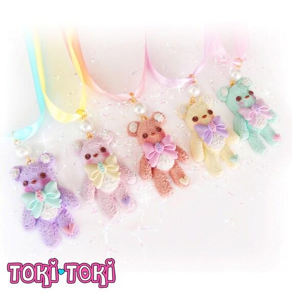Teddy Bear Choker, Lolita Choker, Kawaii Choker, Little Girls Jewelry, Kids Jewelry, Candy Jewelry, Chunky Cute Choker, Pastel Goth Choker by Etsy