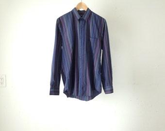 vintage STRIPED deep pastel dark STRIPES oxford fitted MEN'S vintage mid 90s button down shirt
