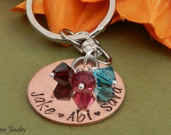 Personalized birthstone keychain, Hand stamped with kids name, Grandma key chain, custom mom keychain, Gift for grandmother/granny/nanna