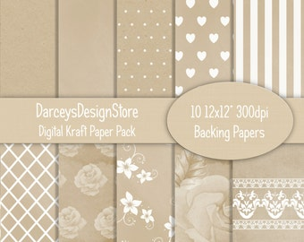Kraft Style Digital Papers, 10 Background designs,  great for crafting, scrapbooking, photography, 10 x 300dpi jpeg files