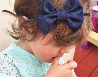 Dark Denim : baby bow, jean bow clip, chambray headband, navy blue bow