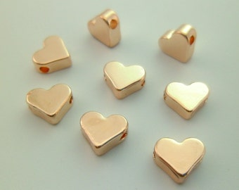 15pcs Rose Gold & Silver Heart Beads Minimal Simple Stamping Personalized Initials Bracelets Necklaces Gifts Everyday Jewelry 01010618-2/3