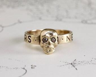 Gold Skull Ring, 14k Yellow Gold & Rustic or Black Rose Cut Diamond Alternative Engagement Wedding Stacking Band, Anniversary Gift
