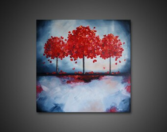 Abstract Art Painting - large canvas art, ORIGINAL CANVAS ART, red wall art, modern acrylic painting, tree wall art, red tree painting