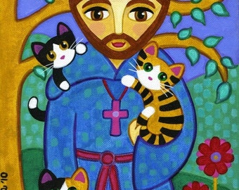 Saint FRANCIS of Assisi with CATS Folk Art PRINT from Original Painting - by Jill