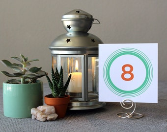 Modern Circles Wedding Table Marker Number Square Rectangle