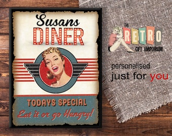 1950s Retro Diner, Custom Wall Sign, Personalised Gift, American Diner,  Retro Style