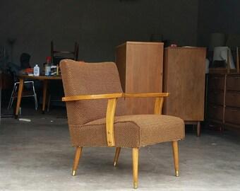 Vintage 1960's Danish Upholstered Armchair Mid Century Modern Brass Capped Legs MCM
