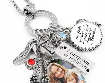 Custom Photo Necklace, Personalized Quote Necklace, Customized Birthstone Jewelry Handcrafted in Stainless Steel