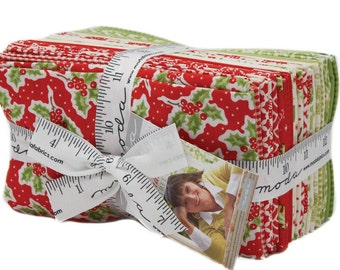 """New! Christmas Figs - Fat Eighths Bundle (27) 9"""" x 21"""" pieces - Fig Tree Quilts - MODA - Quilting/Sewing Fabric"""