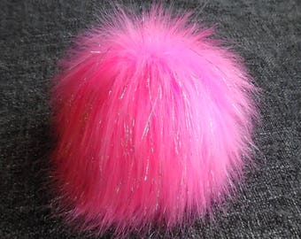 Size S, (Pink-Silver threads) faux fur pom pom 4.5 inches/12 cm