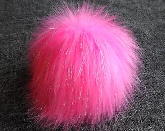 Size XL, (Pink-Silver threads) faux fur pom pom 6.5 inches/17 cm