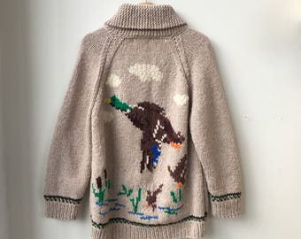 1960's Large Knitted Zip Up Duck Sweater