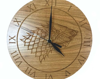 Game of Thrones Inspired House Stark Cherry Wood Clock