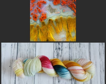 Hand Dyed Yarn, Merino, Nylon Fingering Weight Sock Yarn Perfect for Socks, Shawls, Other Lightweight Accessories - Indonesian Flame Agate