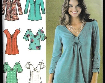 Simplicity 3624 Misses Knit and Woven Tops
